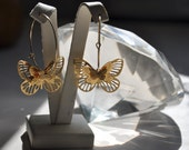 SALE !!!  Reserved list - Three Dimensional Butterflies Earrings - Gold Filled Hoops with 3D Butterflies
