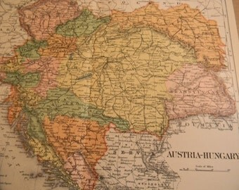 1903 Map Austria Hungary - Vintage Antique Map Great for Framing 100 Years Old