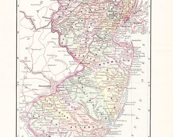 1897 State Map New Jersey - Vintage Antique Map Great for Framing 100 Years Old