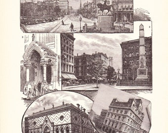 1901 American History Print - New York City Buildings - Vintage Antique Art Print American History Great for Framing 100 Years Old
