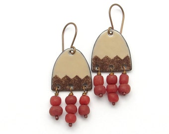 Brown Enamel Earrings with Red Bead Dangles, Enamel Jewelry, Copper Earrings