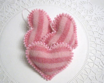 Three Pink Striped Heart Valentine Decorations Ornaments Handmade from a Felted Wool Sweater (no.407)