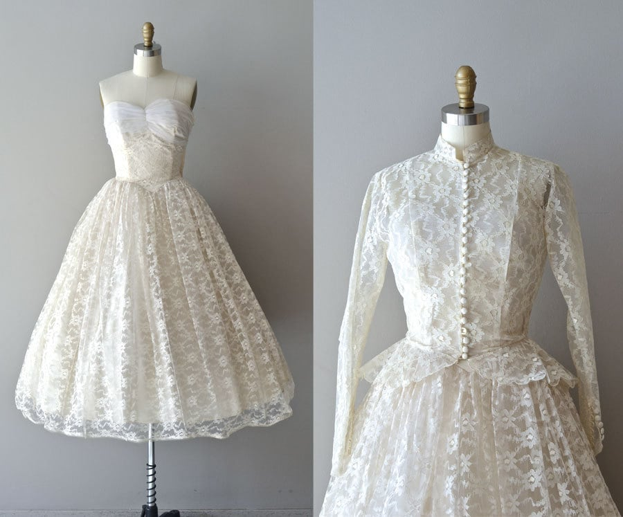 Lace 50s Wedding Dress / 1950s Dress / Pavillion En Air Dress