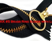 """7"""" Exposed YKK with a Fancy Pull Metal Zipper YKK Number 5 Brass Closed Bottom - By each Color BLACK only (select your own style of slider)"""