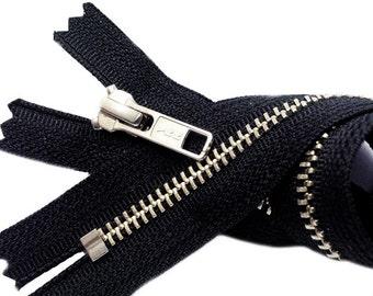 7 inch Nickel Zipper YKK Number 5 - Closed Bottom  - Black