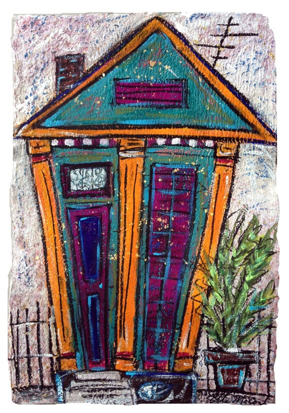 Funky nola shotgun house art print matted in white to fit a for Funky house artists