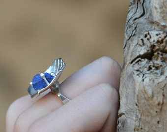 Silver ring Blue Lapis lazuli rough rock Sterling Silver statement ring big ring
