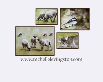 SALE Nursery art PRINT SET kids wall art Animal Print Grouping Nursery Bird Art Print, Sheep Art Print,  Cat Art Print, Lamb Art Print /
