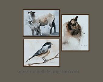 Sale Children art print Nursery Art Print SET 3 small animal PRINTS Girls room decor 8x10 cat print sheep print bird print brown sepia white