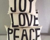 Peace Love and Joy Pillow Set