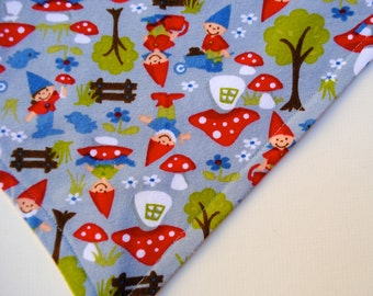 Organic BABY Bandana Bib Scarf with Forest Elf Gnomes - Eco Friendly Hipster Teething Food Bib in Gray and Red - Kids Accessory