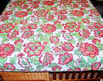 Vintage Tablecloth Red Folk Art 70s Square