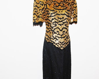 Vintage Dress Baroque Gold and Black Glitzy Sequins