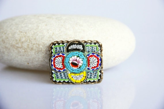 Italian Millefiori micro mosaic brooch, vintage flower jewelry, colorful rectangular flower brooch, retro floral jewel, glass mosaic brooch