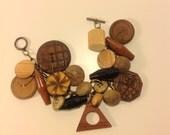 A Wooden Vintage Button Charm Bracelet