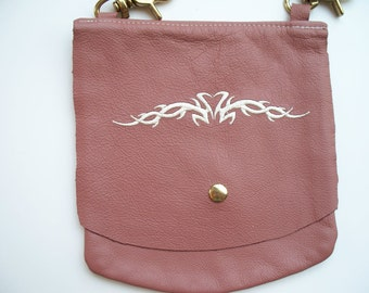Leather Hip Bag with Tribal heart design