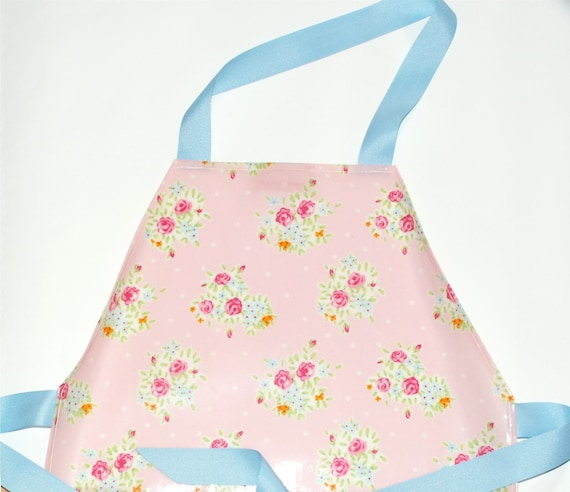Pink Roses / Flowers - Childs / Kids / Mini -  PVC / Oilcloth Apron - Wipe clean - Childs apron - waterproof apron