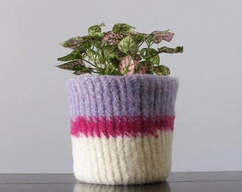 felted wool planter -waterproof -  pale lavender, hot pink, and white  - plant pot - office decor - Valentines day decor - gifts for mom