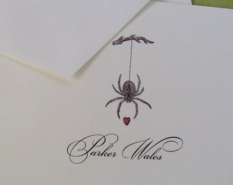 Personalized Notecards Wedding Engagement Garden Spider Red Heart Valentines Stationery Monogrammed Gardening Ivory Note Cards set of 10