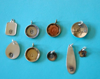 1 ONLY of any of these sterling silver or mixed metals E charm pendants