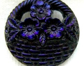 "Czech Glass Button - Realistic Pierced Black Glass ""Flower Basket"" Button w/ Midnight Luster"
