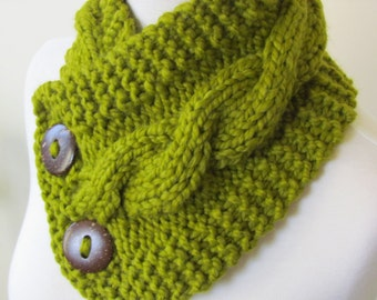 """Chunky Cable Neckwarmer Knit Thick Lemongrass Scarf Wool Blend 6"""" x 25"""" - Cocconut Shell Buttons Ready to Ship - Direct Checkout"""