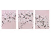 Baby Girl Nursery Art - Canvas Painting Triptych of Pink and Gray Flowers - Large 50x20 - MADE TO ORDER