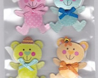 Colorful Teddy Bear 3d Stickers Set Scrapbooking
