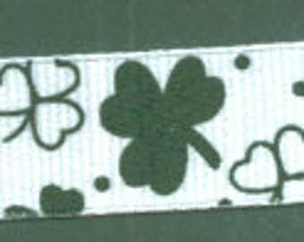 St Patricks Day Shamrock Grosgrain Ribbon | Four 4 Leaf Clover - 5 Yards | Green White Clovers