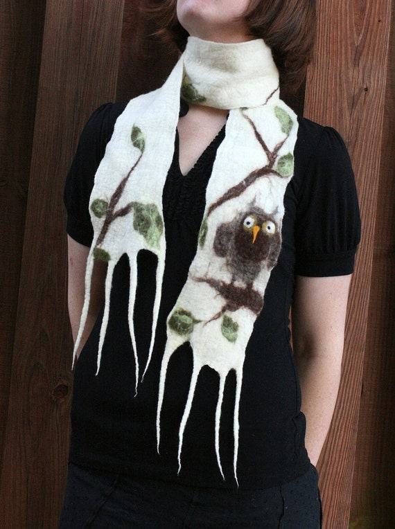 Nuno Felted Owl Scarf - A Soft, Handmade Wool and Silk Scarf With An Adorable Owl Amidst Tree Branches and Leaves - READY TO SHIP