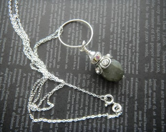 Labradorite Gemstone Necklace, Faceted Labradorite, Crystals and Sterling Silver Necklace