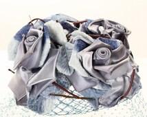 1950s Fascinator Hat w Birdcage Veil - Elegant Vintage Frosted Blue & Silver Roses