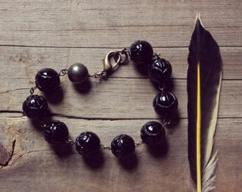 SALE ... Black Lotus. Carved Black Onyx Lotus and Pyrite Bead Bracelet.