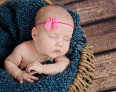Hot Pink Tiny Tails Down Bow Headband - You choose your color baby girl toddler headband