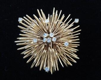 Vintage Atomic Starburst Brooch, Gold & Rhinestone Wire Brooch, Bird's Nest Brooch, Mid Century Modern Brooch MCM Pin 3D Brooch, Vintage 50s