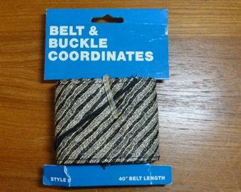 """Vintage Ribbon Belt Kit- Black & Gold Metallic Stripes-40"""" Length 2 3/4"""" Wide- NOS"""