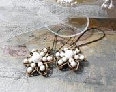 Cream Ivory Pearl Drop Bridal Earrings, Floral Filigree, Glass Pearl, Antiqued Brass, Flower Earrings, Wedding Jewelry, Summer Fashion