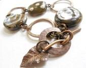 Kazuri Ceramic and Vintaj Brass Charm Bracelet, Textured, Geometric, Olive Green, Ivory Glazed Clay, Bee & Sun Charms, Circles and Rings