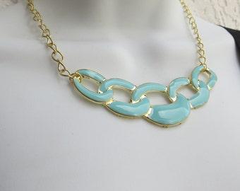 Bib Necklace, Light Aqua Necklace, Interlocking Colorful Necklace, Gold, Modern Fashion Jewelr