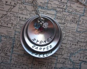 The Audrey Necklace - 3 Tier Domed Hand Stamped Brag Necklace