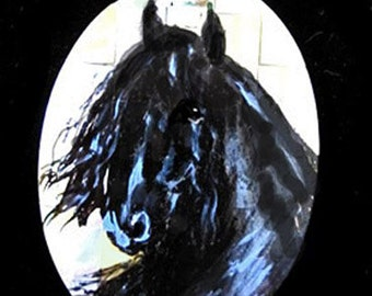 Friesian Horse art hand painted Mother of pearl necklace  Nancy