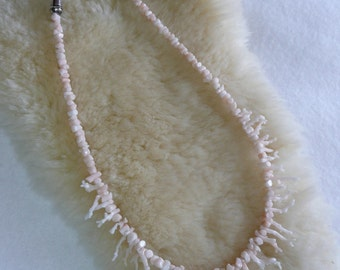 Southwestern Sterling Silver and Rare Angel Skin Pink and Cream Branch Coral Necklace