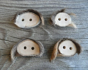 4 Medium Size Deer Antler Shed Buttons with Fur