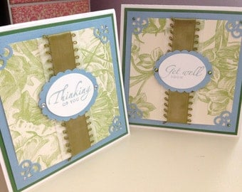 Blue and Green Toile Tile Cards - Set of 2