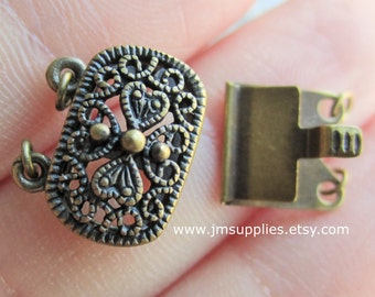 Clasp, Two Strand Tab Antiqued Brass 14x9mm Oval