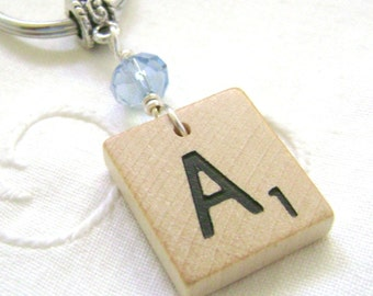 Scrabble Keychain Beaded Personalized Green Pink Gold Dusty Blue Lilac Red Clear Gift Accessory - You choose Letter - But extra for J and K