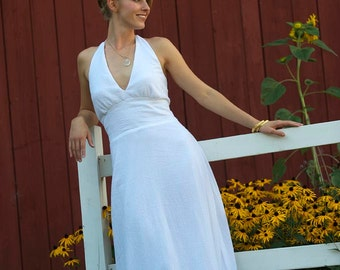 Mariana a cotton wedding dress that is a natural, simple, classic, halter dress in crinkle cotton