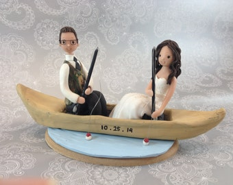 Bride And Groom Customized Fishing Wedding Cake Topper