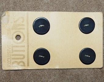 Vintage Lot of 4 Art Deco Extra Fancy 19.25mm Buttons on Original Cards P1L 2