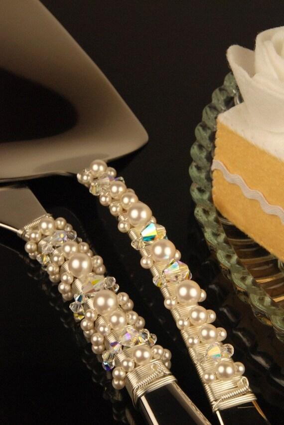 Pearl Wedding Cake Server Set Swarovski Crystal Custom Wedding Table